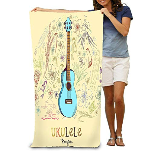 Beach Towel Soft Quick Dry Lightweight High Absorbent Pool Spa Towel for Adult 31 X 51 Inch ukulele baryton round shape pattern hawaiian guitar engraved style blue center composition elements around