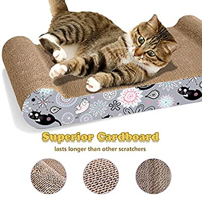 LIKEA Cat Scratcher Lounge Scratching Pads Reversible Cardboardwith Organic Catnip, Protector for Furniture Couch Floor Eco-Friendly Toy from LIKEA