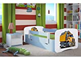 Kocot Kids Kinderbett Jugendbett 70x140 80x160 80x180 Blau mit Rausfallschutz Matratze Schublade und Lattenrost Kinderbetten für Junge - Truck 180 cm