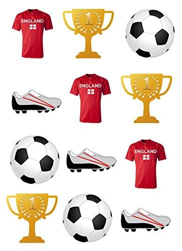 PRE CUT ENGLAND, FUSSBALLTRIKOT / BOOT / TASSE, AUS ESSBAREM REISPAPIER ALS DEKORATION für CUP CAKES BEI GEBURTSTAGSFEIERN England-match
