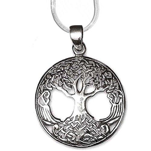 24-Trendshop Anhänger Lebensbaum Amulett Baum des Lebens Silber Schmuck Heilung mit 1,2mm Schlangenkette 45 cm Halskette 5500 Weltenbaum