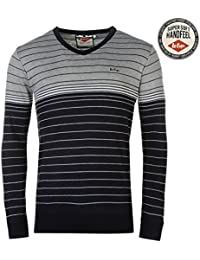 Lee Cooper Hommes Rayure V Tricote Jumper Pull Top Haut Casual Manche Longue
