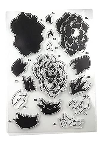 beautybouse 1 Bogen DIY Blume Silikon Transparent Stempel Hand Seal Big Scrapbooks Album