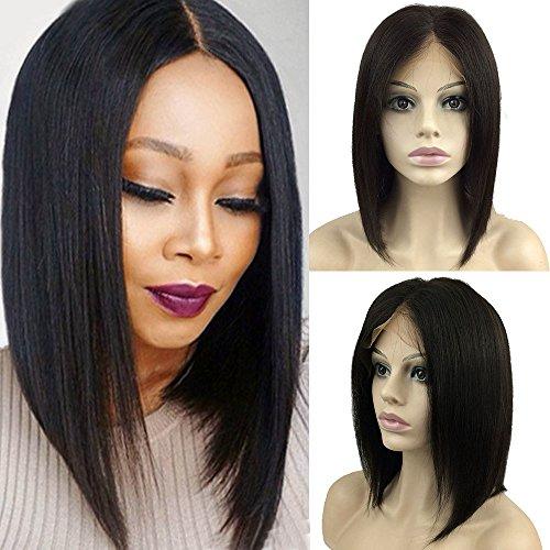 Parrucca donna capelli veri bob lace front wig naturale umani brasiliani remy human hair lisci 130% densità lace frontale wigs, 10