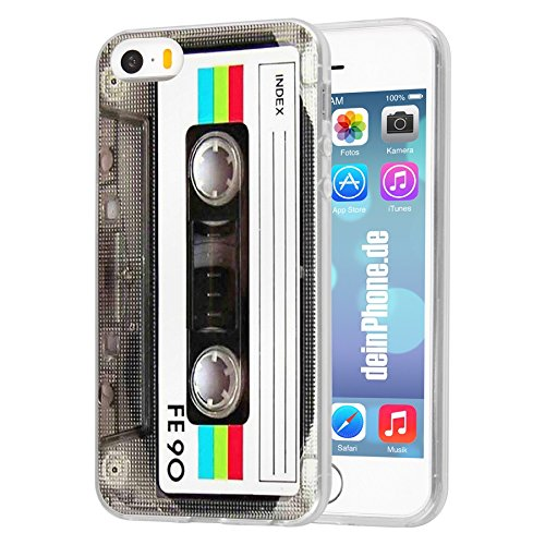 deinPhone Apple iPhone 5 5S HARDCASE Hülle Case Retro Kassette Weiß