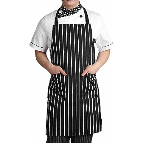 CrewPros ™ regolabile, da adulto, colore: nero a righe, Chef-Grembiule da cucina, motivo: Cook-Cavatappi con 2 tasche