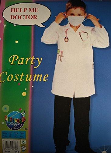 Doktor Kinder-Kostüm Doktor-Kittel weiß-rot Arzt-Kittel (Gr. (Kinder Kostüme Arzt Mantel)