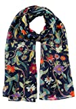 DiaryLook Frauen moderne Schal, Poncho, Stola mit Schmetterling Print-Design und Blumen-Vogel-Stil