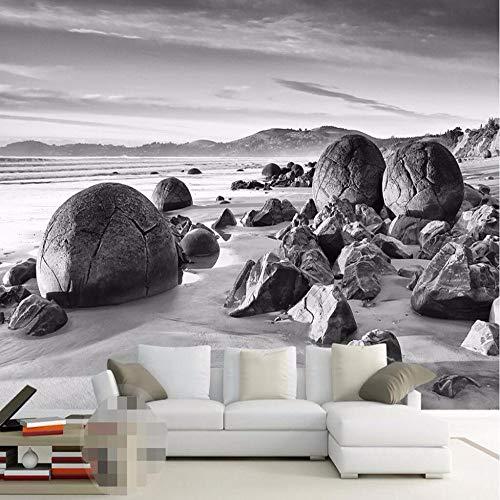 ZAMLE benutzerdefinierte foto wandbild 3d wallpaper Luxus Qualität HD Schwarzweißbild küsten rock klassische kunst 3d große tapete, 300x210 cm (118.1 by 82,7 in) - Klassische Print-rock