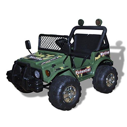 vidaXL Kinderauto Elektroauto Kinderfahrzeug Kinder Fahrzeug 2-Sitzer Armeegrün