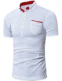 WINWINTOM Verano Diario Camisas De Hombre, Moda Ajustado Camisetas, Hombres Moda Margarita Floral Impresión Blusa Casual…