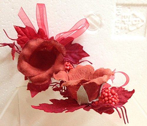 STOCK 24 PEZZI Segnaposto a forma di Rosa Piccolo Foglie rosso bomboniera (Rosa Piccolo Stock)