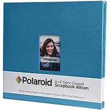 """Álbum de fotos cubierto de tela 8""""x8"""" con ventana para foto frontal para proyectos en papel de foto 2x3 (HP Sprocket, LG, Prynt, LifePrint) - Azul"""