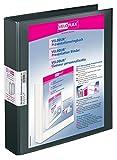 Veloflex 4147180 Präsentations-Ringbuch Velodur, DIN A4, 2-Ring-Mechanik, 272x315x46, mit Außentaschen,schwarz