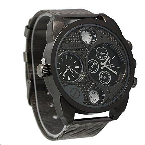 Foxnovo Grande quadrante rotondo Dual Time Oulm 9316 Cool uomo visualizzare fascia in acciaio quarzo orologio da polso (nero)