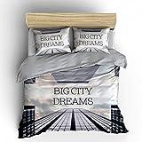 Nightlife Blue - Bettwäsche / 100% Baumwolle Perkal Bettbezug - Big City Dreams Multi - Bunt - 160x200 - Mit 2 Kissenbezüge 70x90