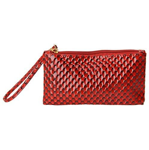 Dairyshop Borsa donna Portafoglio, Sacchetto telefono del messaggero raccoglitore borsa della frizione busta sera della festa sera donne (Oro) Rosso