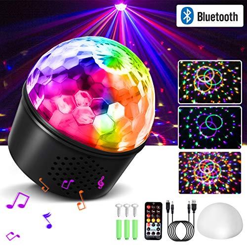homeasy Discokugel USB Bluetooth Lichteffekte RGB Partylicht Musikgesteuert Diskokugel LED Bühnenbeleuchtung Kristall Magic Ball mit Fernbedienung Nachtlicht für Kinder,Bar, Party