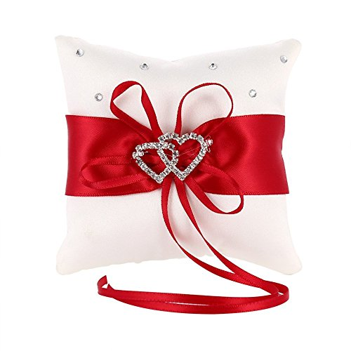 mingze anello cuscino anello di nozze portatore cuscino decorazione romantico matrimonio nastro bowknot fascino strass amore cuore cuscino dell'anello (rosso, 15*15cm)