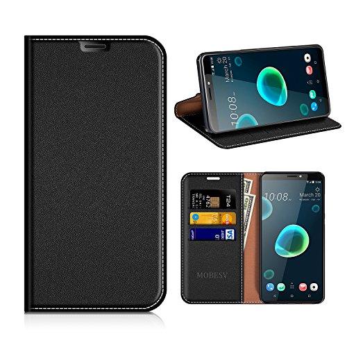 MOBESV HTC Desire 12+ Hülle Leder, HTC Desire 12 Plus Tasche Lederhülle/Wallet Case/Ledertasche Handyhülle/Schutzhülle mit Kartenfach für HTC Desire 12+ / 12 Plus - Schwarz