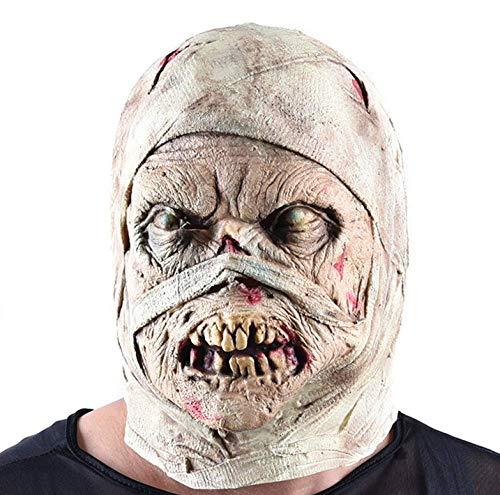 FENGZ Halloween Horror Maske Mumie Masken Rot Gesicht Kopfbedeckung Zombie Kostüm Party Haunted House Horror Requisiten Menschen Erschrecken (Mumie Maske Kostüm)