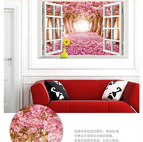 Warme Romantische Blühende Kirsche 3D Falsche Fenster Landschaft Diy Wandaufkleber Wohnzimmer Hochzeit Room Decor Wandtattoo (Schrank Glas Kirsche Mit Türen)