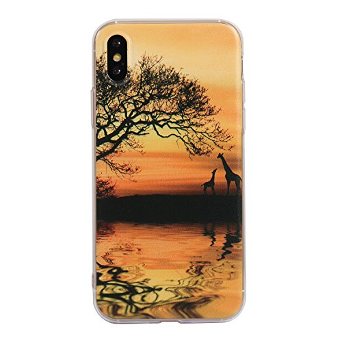 iPhone X Handyhülle,iPhone X Silikon Hülle,Cozy Hut 3D Handyhülle Muster Case Cover Für iPhone X Liquid Crystal Ultra Dünn Crystal Clear Transparent Handyhülle Soft Cover Premium Anti-Scratch TPU Durc Giraffenpaar