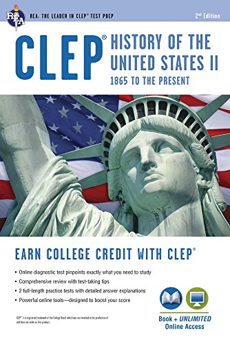CLEP(R) History of the U.S. II Book + Online (CLEP Test Preparation)