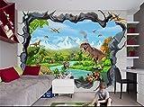 ADLFJGL 3D Stereoskopische Wohnzimmer Tv Hintergrundbild Traumhaft Schöne Schnee Berge Dinosaurier Hintergrund Wand Tapeten 250 × 175 Cm Wallpaper