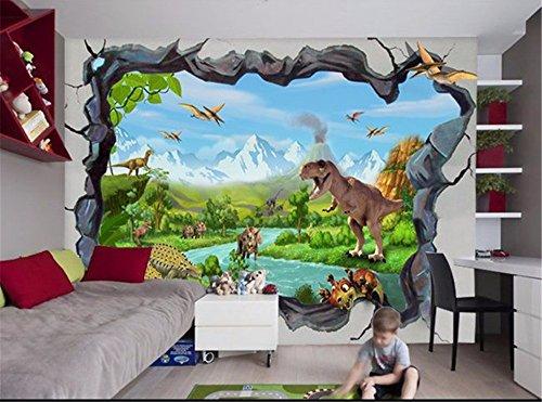 fototapete dino ADLFJGL 3D Stereoskopische Wohnzimmer Tv Hintergrundbild Traumhaft Schöne Schnee Berge Dinosaurier Hintergrund Wand Tapeten 250 × 175 Cm Wallpaper