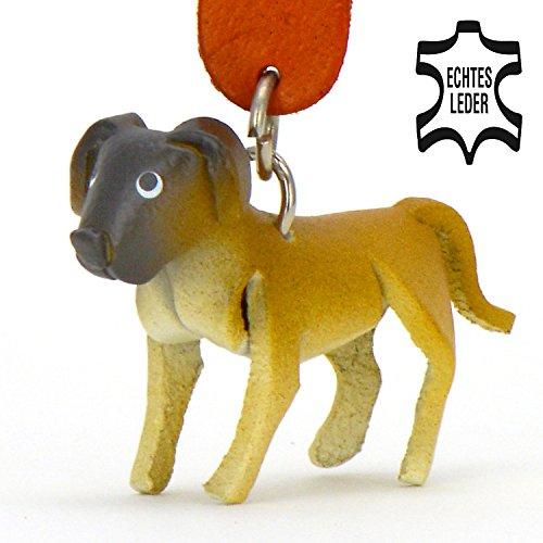 Deutsche Dogge Scooby Doo - Hunde Schlüsselanhänger Figur aus Leder in der Kategorie Kuscheltier / Stofftier / Plüschtier von Monkimau in hellbarun, braun, schwarz ca. 5cm klein Irischer Boxer