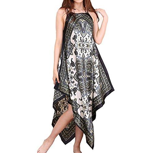 BigForest Damen BOHO Strap Satin Silk lang Negligee Pajama Verstellbar Schlafanzug Nachtkleid (Empire Nightgown)
