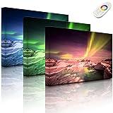 Lightbox-Multicolor | Bild mit LED Hintergrundbeleuchtung | gewaltiges Polarlicht | 100x70 cm | Fully Lighted
