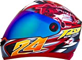 #7: Steelbird Men's ISI Certified Bargy Design Graphics Helmet - Hovering Glossy Finish with Rainbow Visor + Free extra transparent visor (Medium 580MM, Sport Red With Yellow)