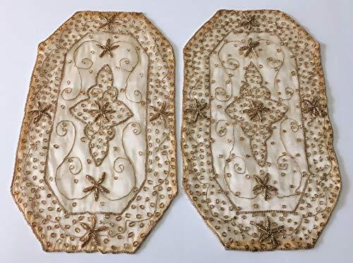 Daniele farinella coppia di centrotavola ottagonali di artigianato indiano,color crema ricamati a mano con passamaneria,cm 29 x 51