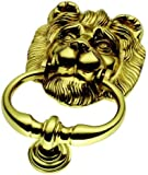 Large Solid Polished Brass Lion Head Door Knocker (PB22)