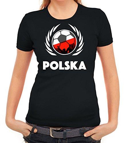 ShirtStreet Polska Poland Soccer Fussball WM Fanfest Gruppen Fan Wappen Damen T-Shirt Fußball Polen Schwarz