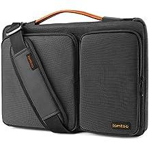 Tomtoc 360 Schutzhülle 14 Zoll Laptop Umhängetasche mit Einstellbar Schultergurt für MacBook Pro USB-C Touch Bar A1707 15 Zoll | 14 Zoll HP Dell ThinkPad Acer Asus Lenovo ChromeBook, Schwarz