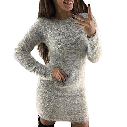 Damen Pullover Hoodie Sweatshirt Warm Lange Ärmel Strickjacken Xinan Casual Sleeve Pullover Jacke Slim Mantel Tops (XL, Grau @Sexy) (Damen Rosa T-shirt Hand)