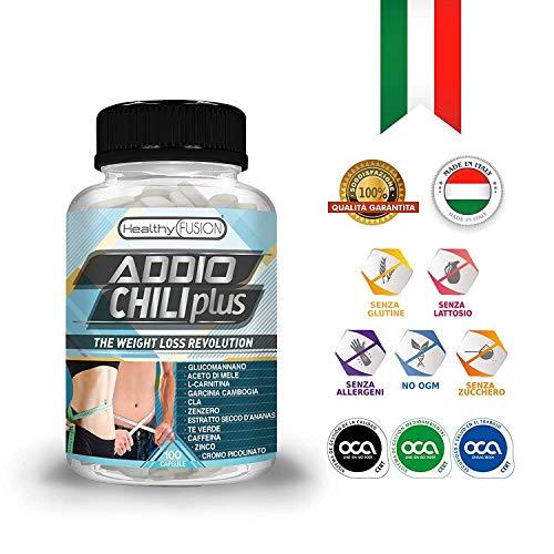 ADDIO CHILI PLUS - La rivoluzione nella perdita di peso - Potente e innovativo dimagrante - Riduttore dell'appetito - Efficace brucia grassi - Stimolante del metabolismo - 100 capsules 100% vegetali