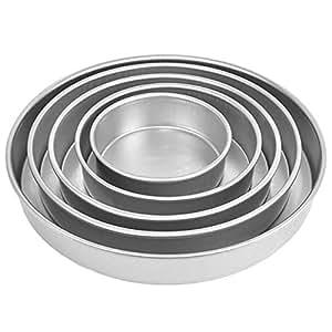 Prime Enterprises Round Shape Aluminium Cake Mould, 4-8-inches (Multicolour)- Set of 5