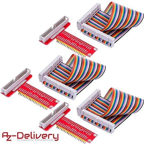AZDelivery ⭐⭐⭐⭐⭐ 3 x 40 Pins GPIO Breakout Board und kompatibles Flachband Ribbon Kabel für Raspberry Pi - Adapter Breakout-kabel
