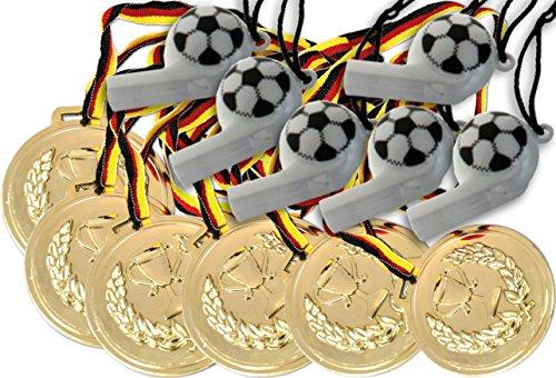 Preisvergleich Produktbild KSS 6 x Medaillen groß ca. 6cm Durchmesser + 6 x große Trillerpfeifen ! mit Schawrz, rot, gold Band Kindergeburtstag Fußball Party Mitgebsel Mitbringsel Tombola