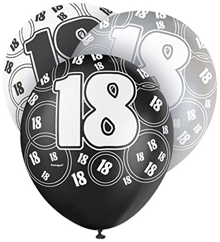 Unique Party Latex-Luftballons für den Geburtstag, glitzernd, 30,5cm, 6Stück (18 Geburtstag Party Supplies)