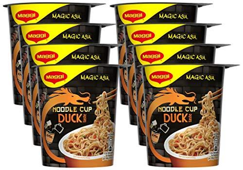 MAGGI Magic Asia Noodle Cup: Duck, Instant-Nudeln mit Enten-Geschmack, leckeres Fertiggericht im praktischen Becher, mit Gemüse verfeinert, 8er Pack (8 x 65 g)