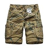 Xmiral Shorts Herren Reißverschluss Overall Streifen Kurze Hose Mit Taschen Sports Hose Training Shorts Fitness Beachshorts(Z Khaki,XXL)