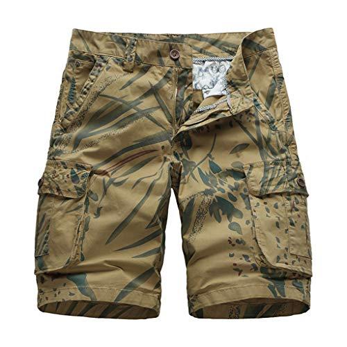 Xmiral Shorts Herren Reißverschluss Overall Streifen Kurze Hose Mit Taschen Sports Hose Training Shorts Fitness Beachshorts(Z Khaki,XXL) -
