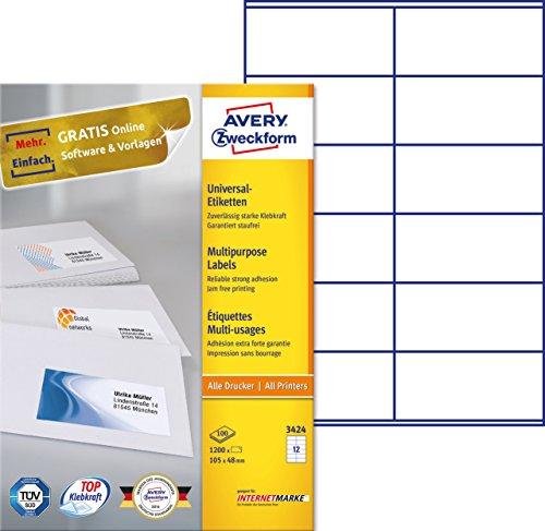 AVERY Zweckform 3424 Universal-Etiketten (A4, Papier matt, 1,200 Etiketten, 105 x 48 mm, 100 Blatt) weiß