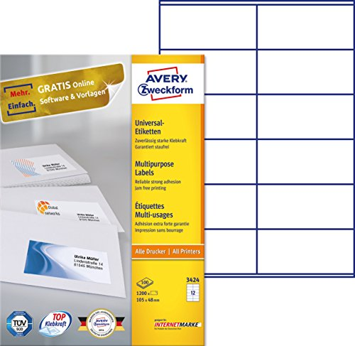 einfacher kopierer AVERY Zweckform 3424 Universal-Etiketten (A4, Papier matt, 1,200 Etiketten, 105 x 48 mm, 100 Blatt) weiß