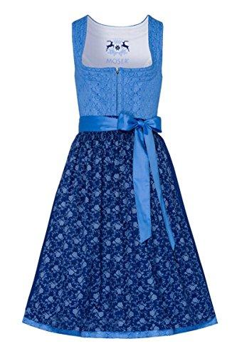 MOSER® Trachten Baumwolle Midi Dirndl 70er hellblau dunkelblau geblümt Regina 004711 von MOSER, Rocklänge: ca. 70 cm, mit Reißverschluss, Größe 52